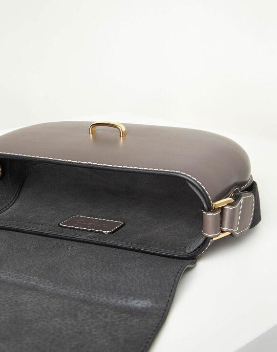 Doris two-tone pale grey leather shoulder bag (4) - 1-2-3