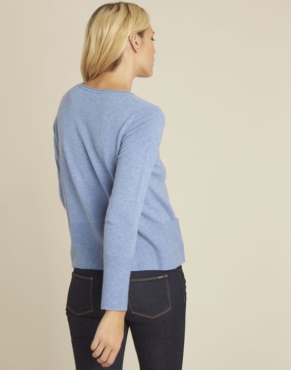 Brume azure blue cashmere pullover with pockets (4) - 1-2-3