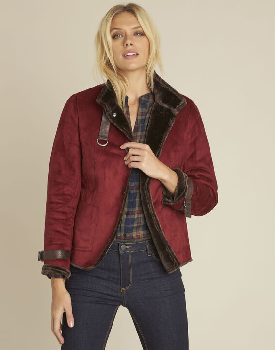 Sacha red high collar suedette jacket PhotoZ | 1-2-3