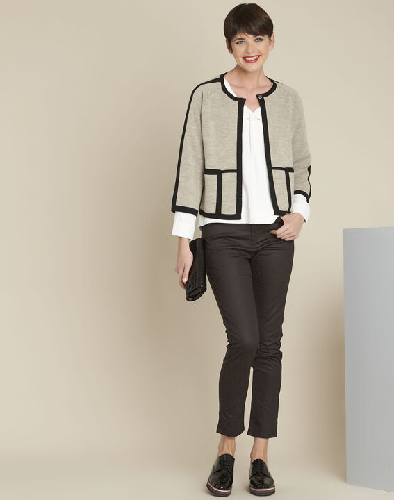 Mastic taupe cardigan with contrasting bias (2) - 1-2-3