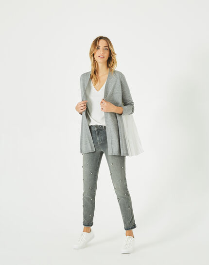 Gilet gris chiné waterfall en laine mélangée Please (3) - 1-2-3