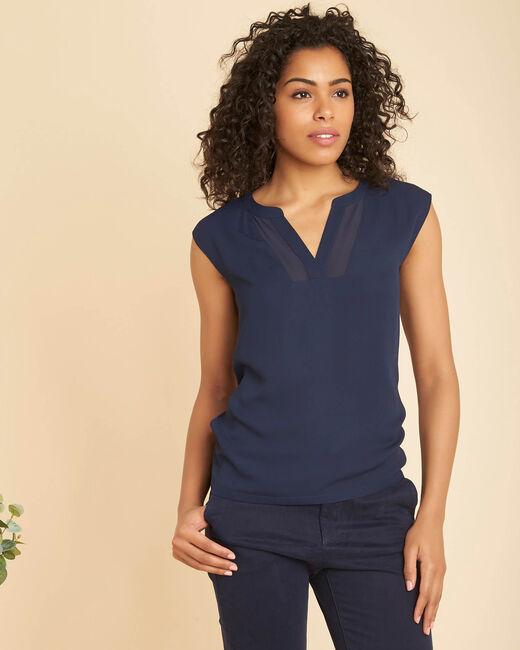 Marineblaues Kurzarm-T-Shirt im Materialmix mit Netzstreifen am Ausschnitt Bianca (2) - 1-2-3