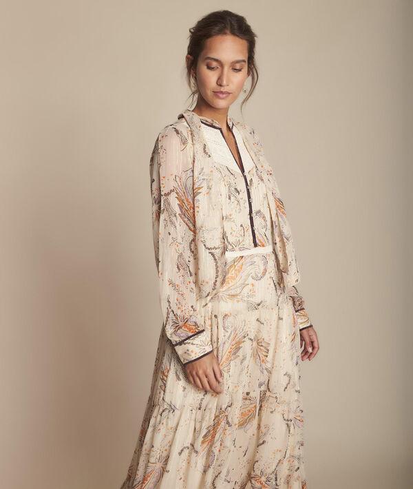 Ecrufarbenes, langes Kleid mit Printmuster, Imane PhotoZ | 1-2-3