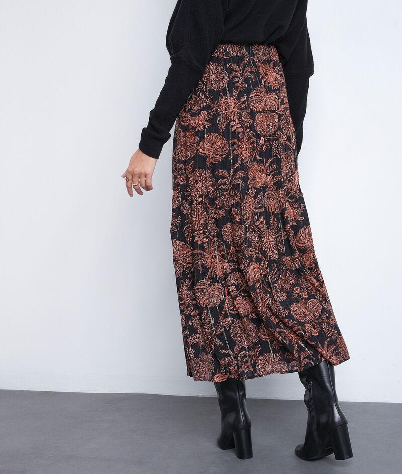 Jupe longue imprimée noire et orange Emira PhotoZ   1-2-3