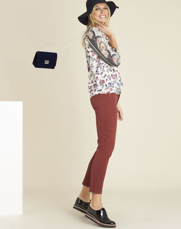 Ecru blouse met bloemenprint Cécile (1) - 37653