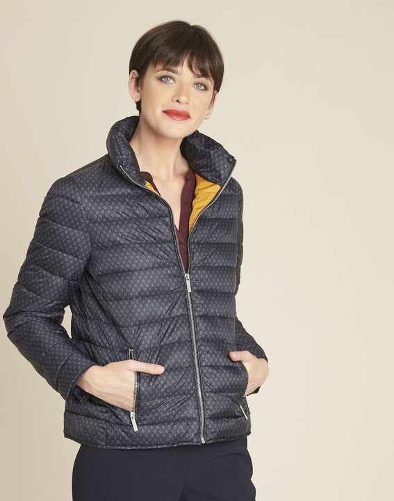 Pretty short navy printed down jacket (1) - 1-2-3