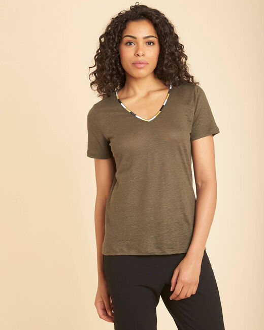 Elin khaki linen T-shirt with collar (2) - 1-2-3