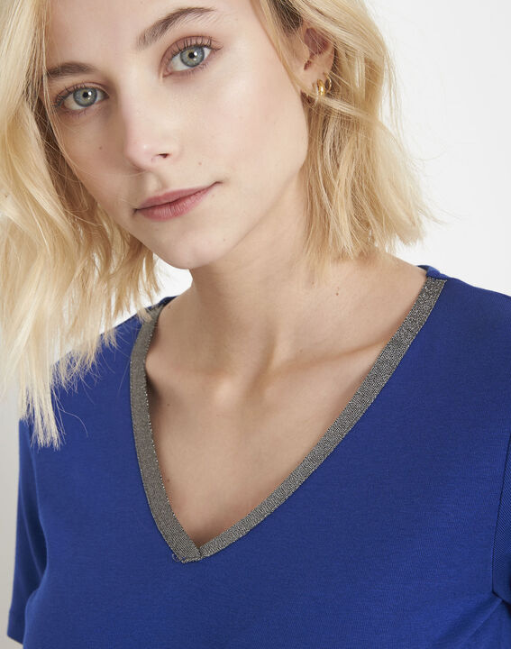 Blaues T-Shirt mit Lurex-Ausschnitt Etincelante (3) - Maison 123