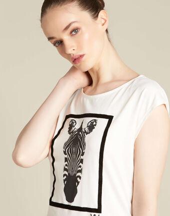 T-shirt écru imprimé zèbre echo ecru.