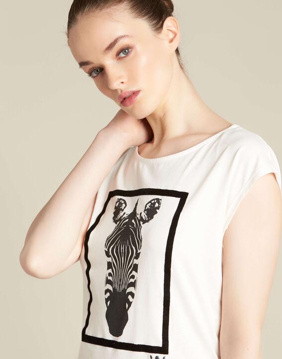 Ecrufarbenes T-Shirt mit Zebra-Print Echo PhotoZ | 1-2-3