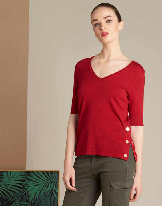 Novette red sweater with golden press-studs (3) - 1-2-3