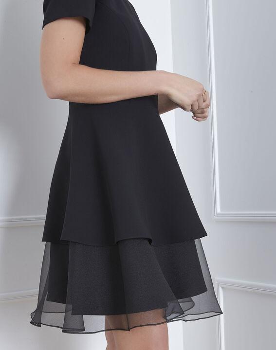 Schwarzes Kleid aus Bimaterial und Organza mit Volant Hypolite (3) - Maison 123