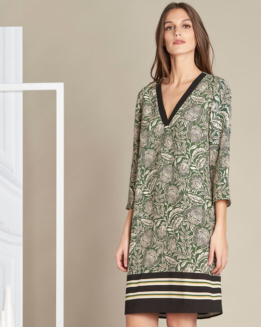 Khakifarbenes Kleid mit Blumenprint Parfaite (2) - 1-2-3