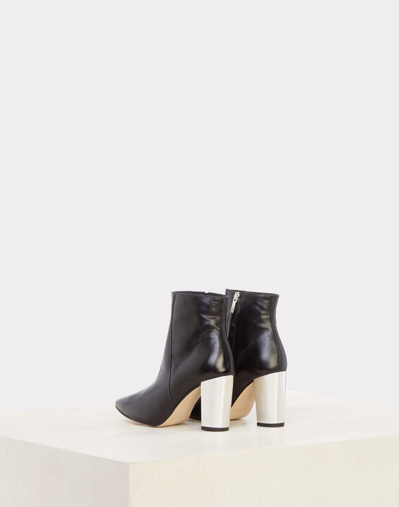 Noor black ankle boots with silver heels (3) - 1-2-3