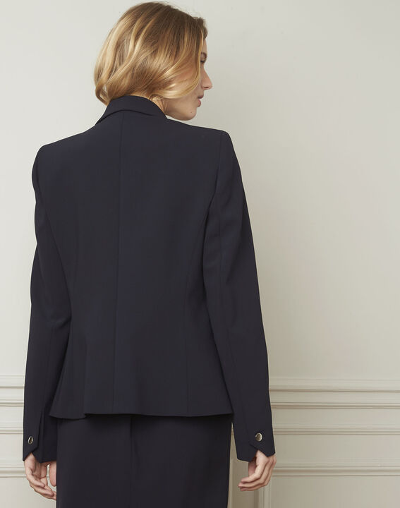 Eve navy tailored microfibre jacket (3) - Maison 123