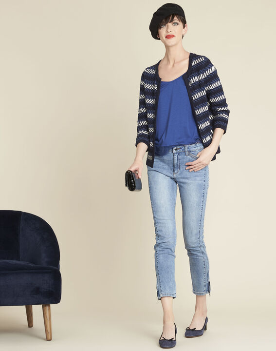 Bellini cobalt blue striped cardigan (2) - 1-2-3