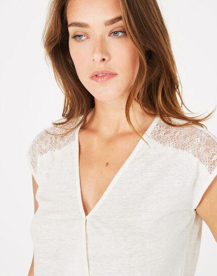 Tee-shirt écru en lin Noha (5) - 1-2-3