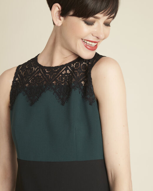 Noe emerald green dual-fabric dress with lace neckline (1) - 1-2-3