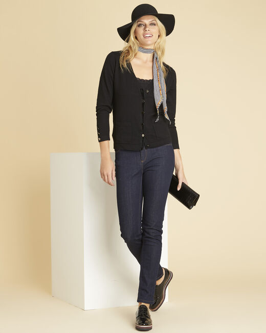 Bettina black cardigan with velour grosgrain detailing (1) - 1-2-3