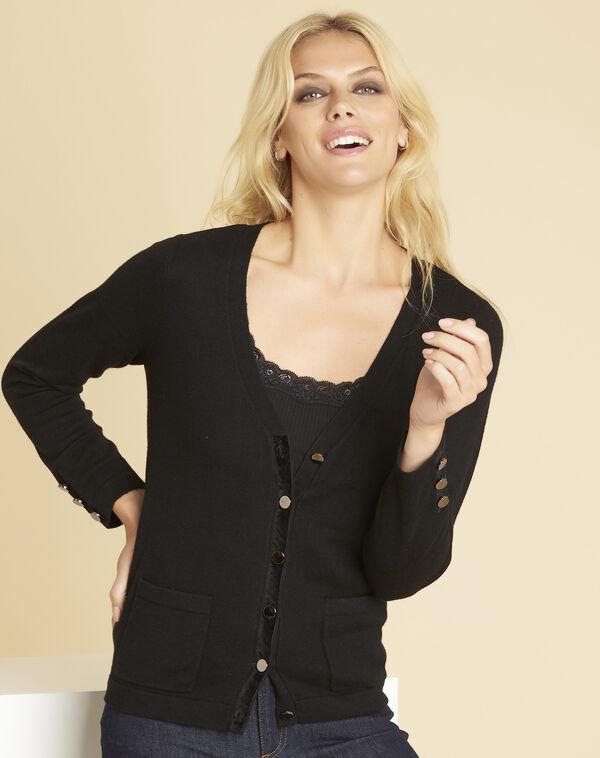 Zwarte vest met fluwelen ripsweefseldetail Bettina (1) - 37653