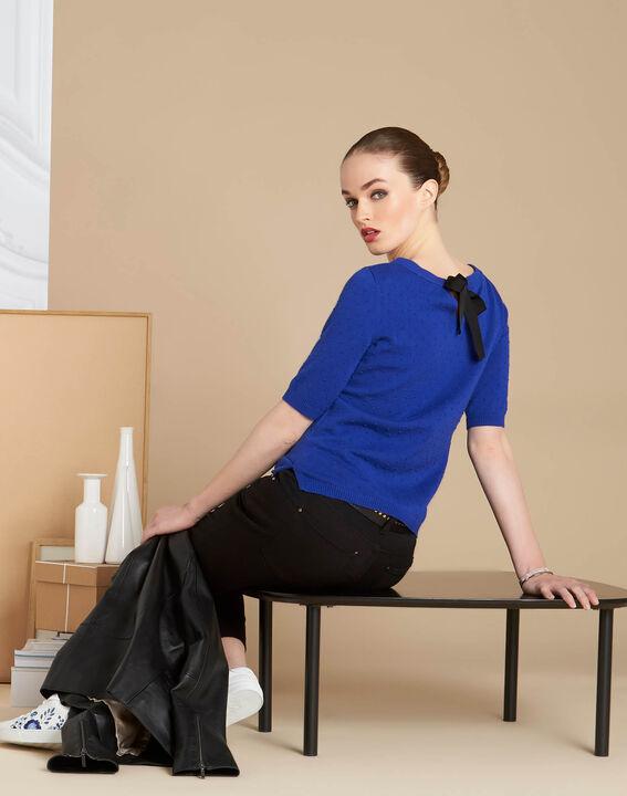 Königsblauer Pullover mit Schleife am Rücken Nadia (2) - 1-2-3