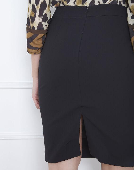 Jupe droite noire bande latérale microfibre Fancy (4) - Maison 123