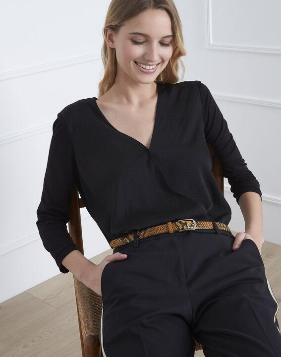 Schwarze Bluse aus Bimaterial in Wickel-Optik  (1) - Maison 123