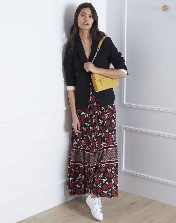 Robe noire imprimée longue Lisette (2) - Maison 123