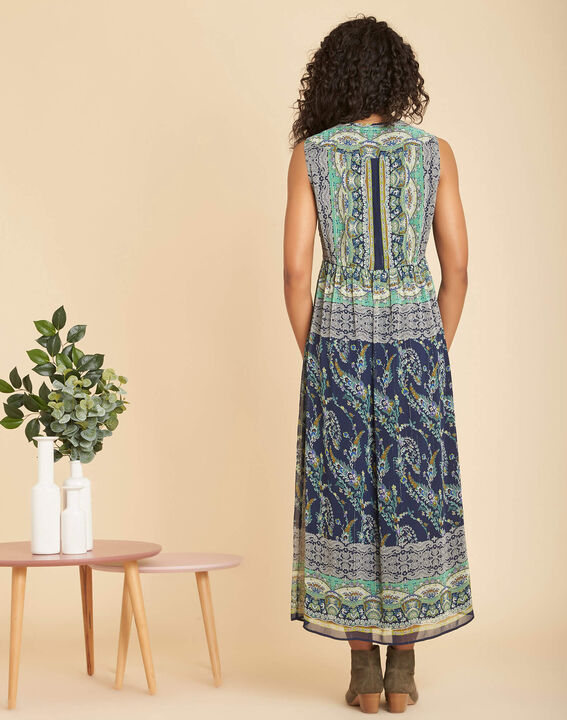 Paillette long blue printed dress (4) - 1-2-3