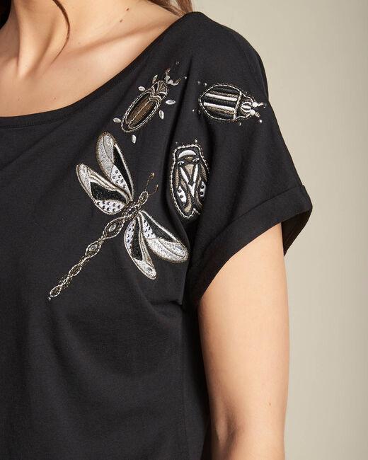 Tee-shirt noir à broderies manches courtes Epirrhoe (2) - 1-2-3