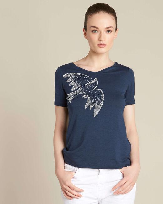 T-shirt bleu marine imprimé oiseau Envol (2) - 1-2-3