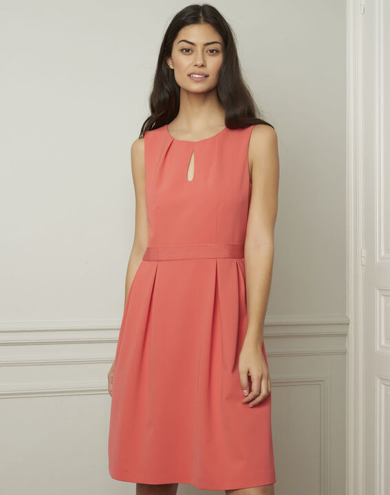 Isis round coral-coloured dress (1) - Maison 123