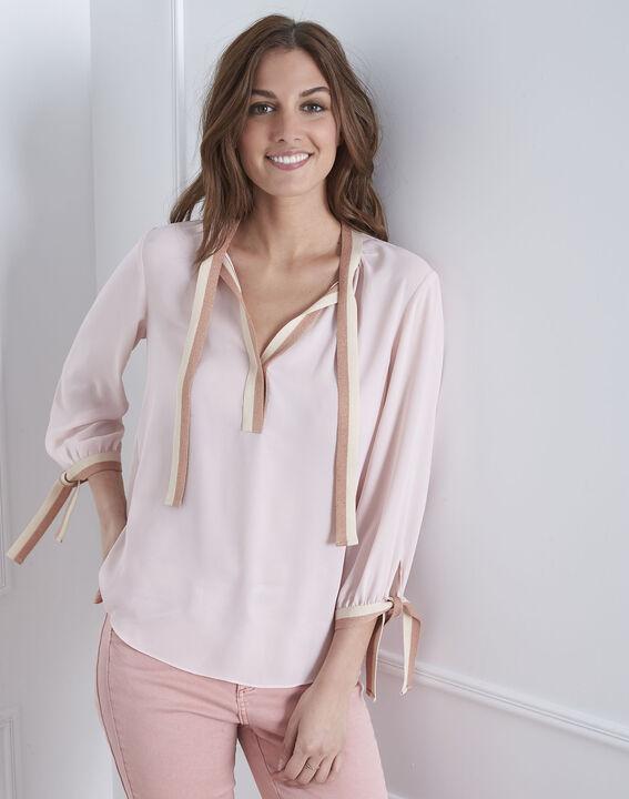 Blassrosa Bluse mit kontrastfarbenen Details Vicky (2) - Maison 123