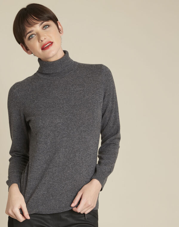 Pull anthracite col roulé cachemire Berceuse (1) - 1-2-3