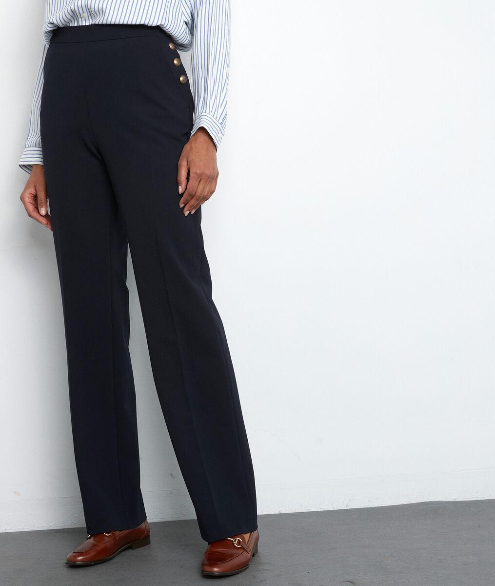 Pantalon de tailleur en microfibre marine David PhotoZ   1-2-3