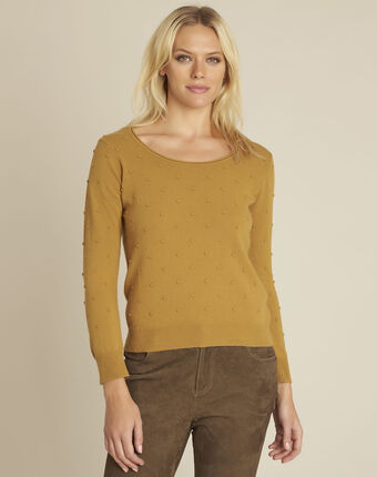 Beebop yellow crew neck wool mix pullover honey.