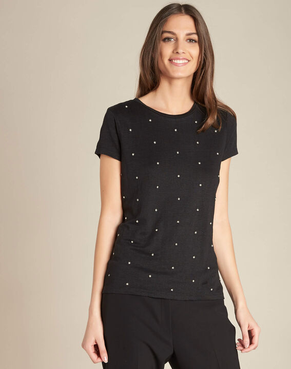 Epearls black T-shirt in linen with embroidered beading (3) - 1-2-3