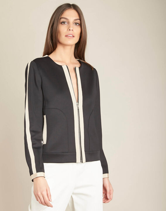 Cassy black belted jacket with zip in neoprene (3) - 1-2-3
