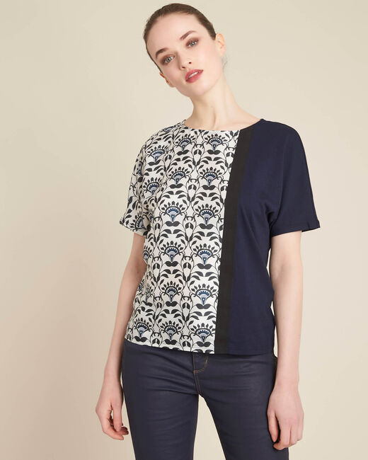 Marineblaues Print-T-Shirt Erina (2) - 1-2-3