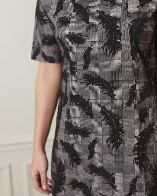 Destiny grey dress with feather print (2) - 1-2-3