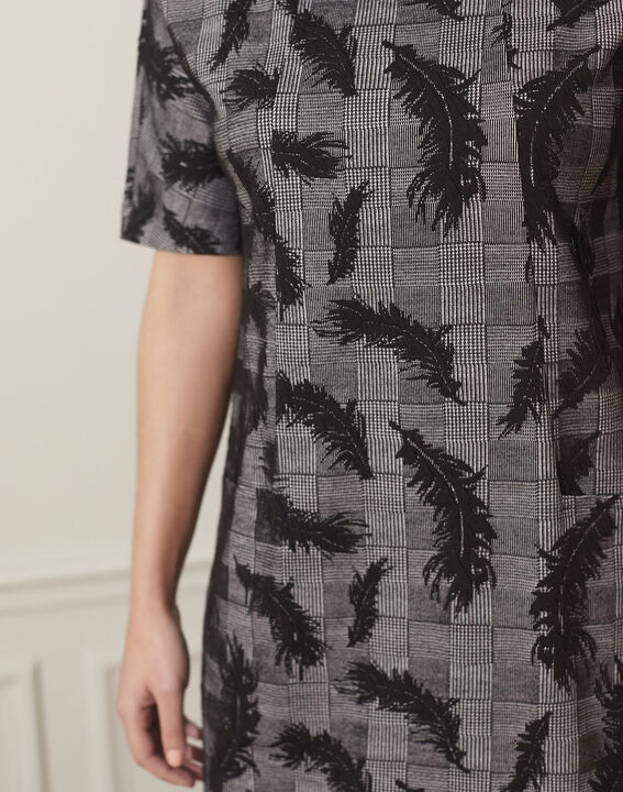 Destiny grey dress with feather print (3) - 1-2-3