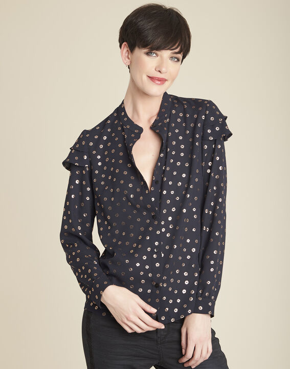 Chana black printed blouse with puffy sleeves (1) - 1-2-3