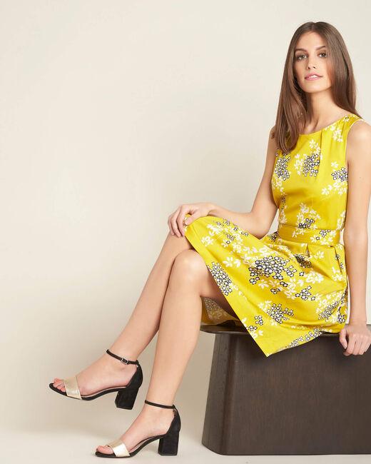 Gelbes Kleid mit Blüten- und Blätterprint Irma (1) - 1-2-3