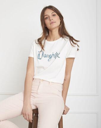 "Tee-shirt écru imprimé ""daughter"" primevere ecru."