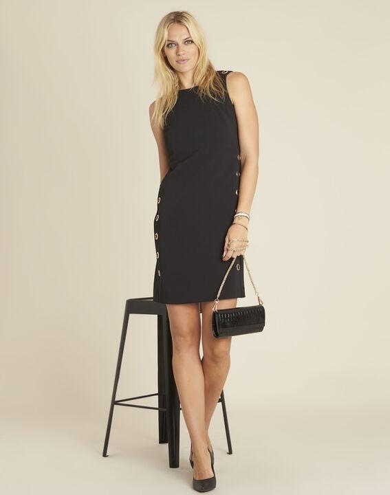 Zwarte rechte jurk met vetergaten Dora (3) - 37653