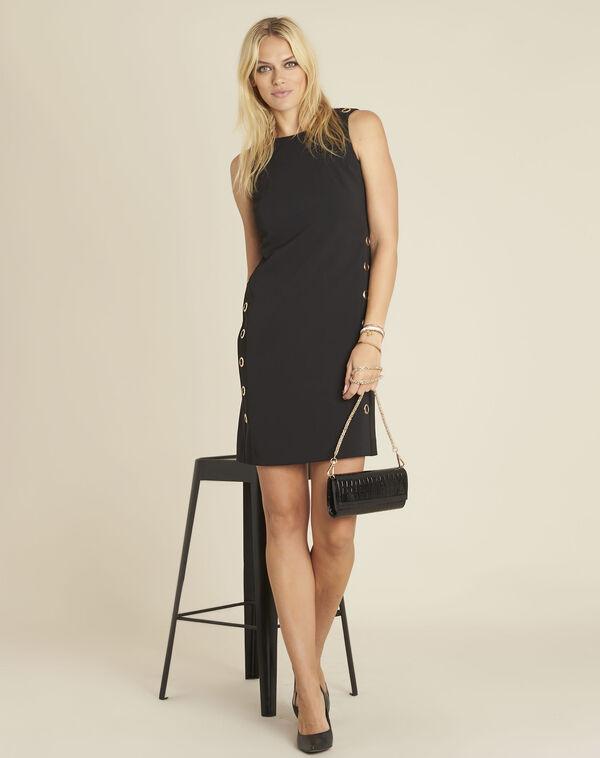 Zwarte rechte jurk met vetergaten Dora (2) - 37653