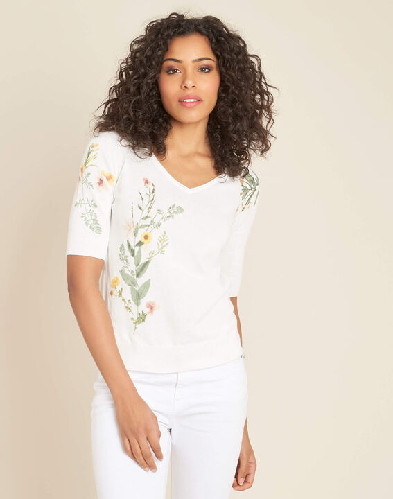 Witte trui met bloemenprint Nouette (3) - 37653
