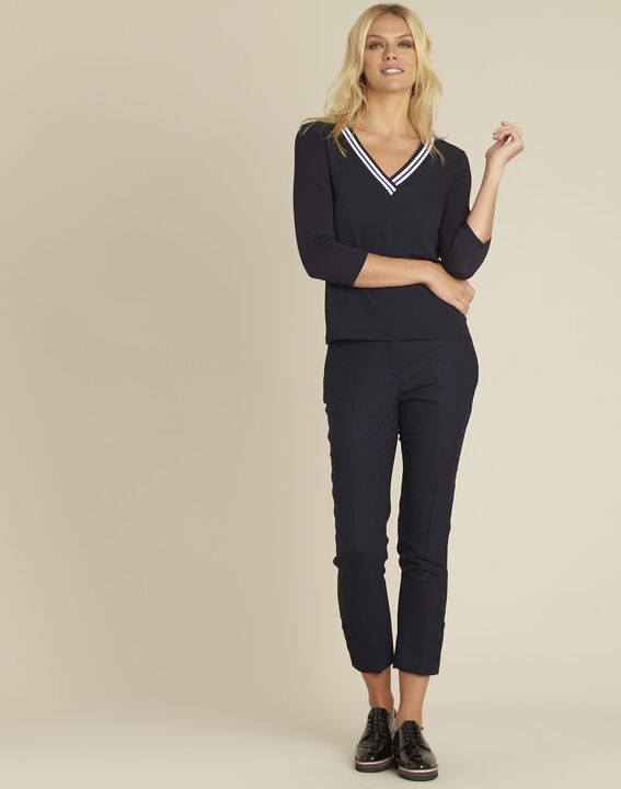 Clare navy bi-material blouse with V-neck (2) - 1-2-3