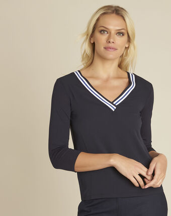Clare navy bi-material blouse with v-neck navy.