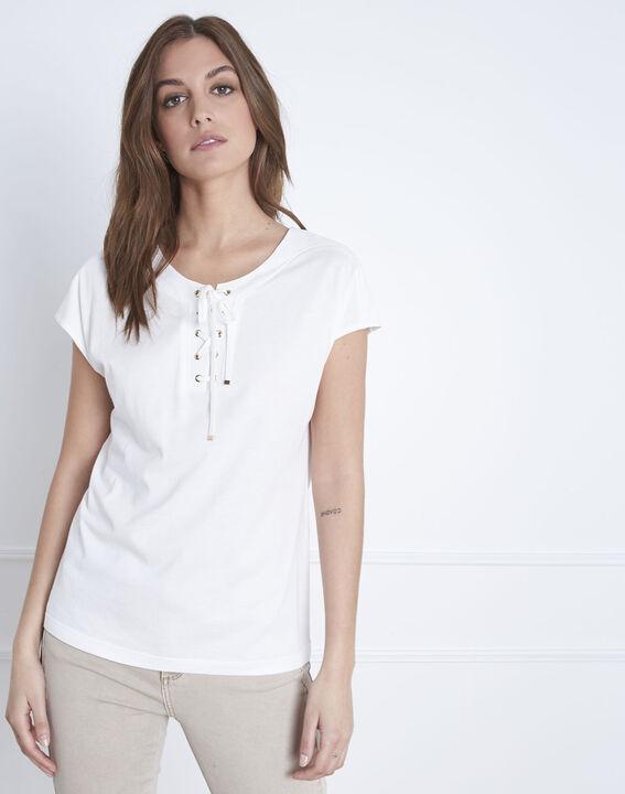 Tee-shirt blanc en coton encolure lacée Porto (3) - Maison 123